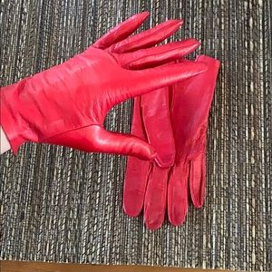 Vintage Red Leather Gloves